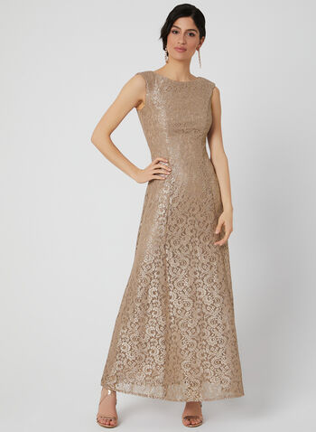Jessica Howard - Glitter Lace Dress, Brown, hi-res,  short sleeves, fit & flare, floral lace, spring 2019, long dress