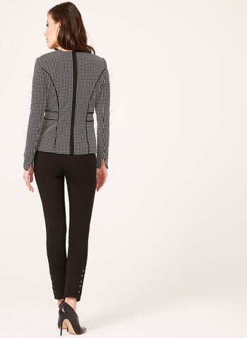 Structured Square Print Jacket, Black, hi-res