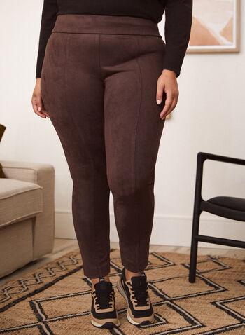 Legging à enfiler en suède, Brun,  bas, legging, caleçon, pantalon, pull-on, à enfiler, taille élastique, jambe étroite, surpiqûres, suède. extensible, automne 2021