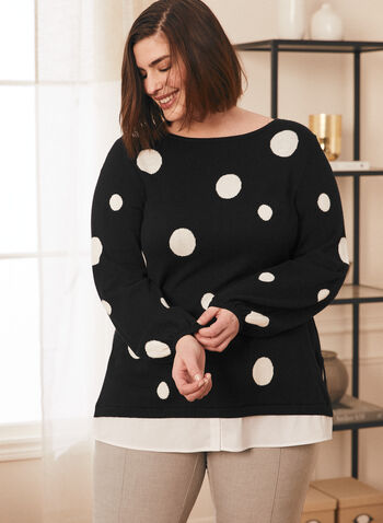 Dotted Print Fooler Sweater, Black,  sweater, fooler, boat neck, bubble sleeves, dotted, contrast, spring summer 2021