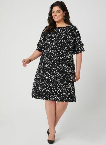 Robe texturée à pois, Noir, hi-res