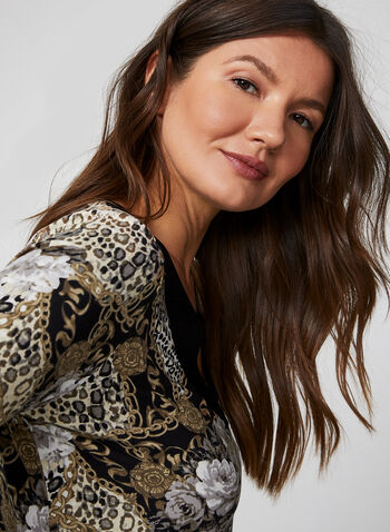 Hamilton - Flower & Chain Print Nightgown, Brown, hi-res,  nightgown, pyjama, flower, chain, jersey, all winter 2019