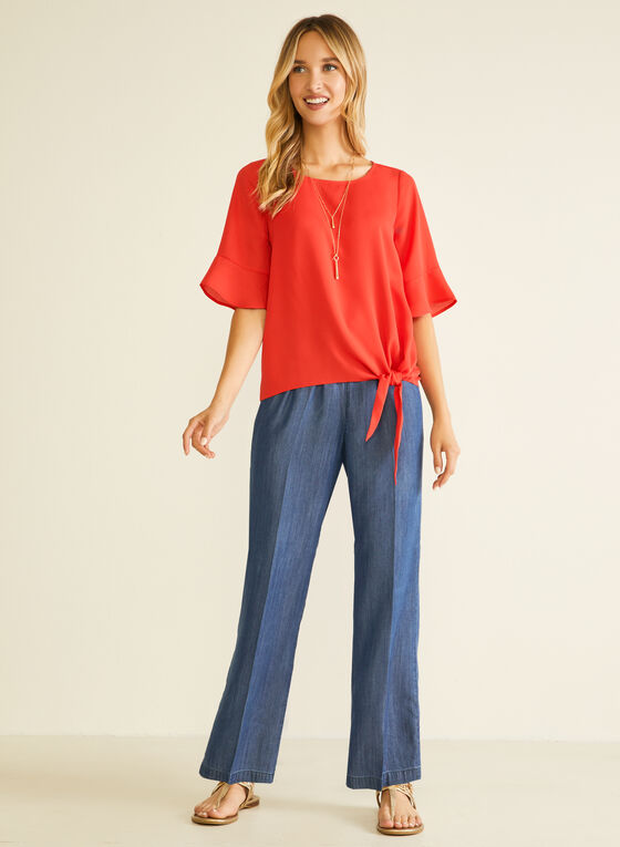 Denim-Style Tencel Pants, Blue