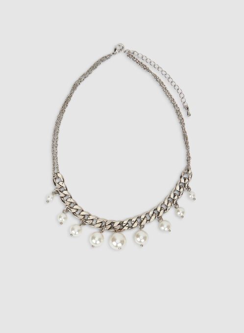 Short Pearl Necklace, Off White, hi-res