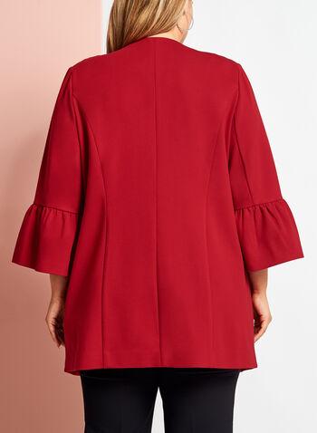 Ruffle Sleeve Ponte Jacket, Red, hi-res