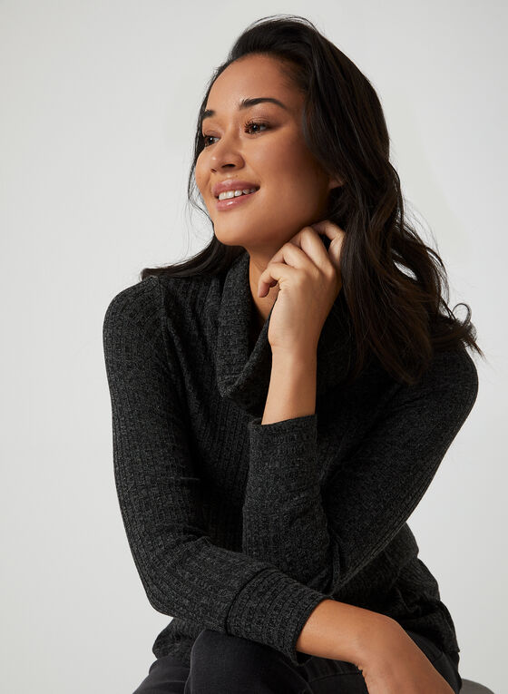 Textured Rib Knit Top, Grey