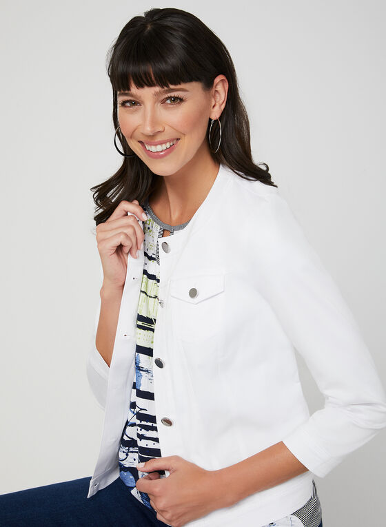 Cotton Blend Jacket, White, hi-res