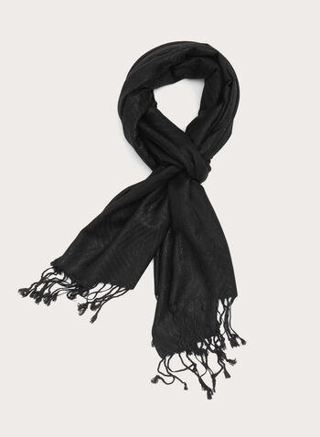 Fringed Metallic Aztec Print Scarf, Black, hi-res