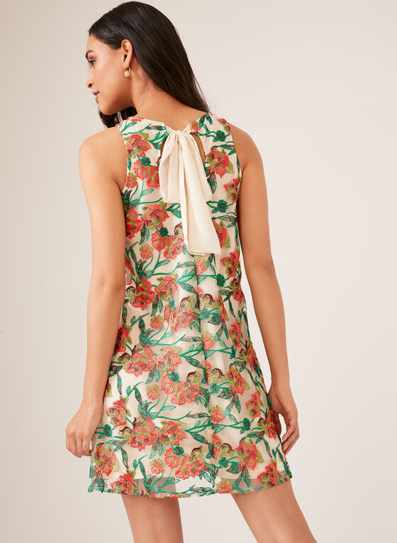 Floral Embroidered Sleeveless Dress, Black, hi-res