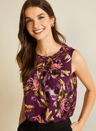 Floral Print Pleated Sleeveless Top, Purple