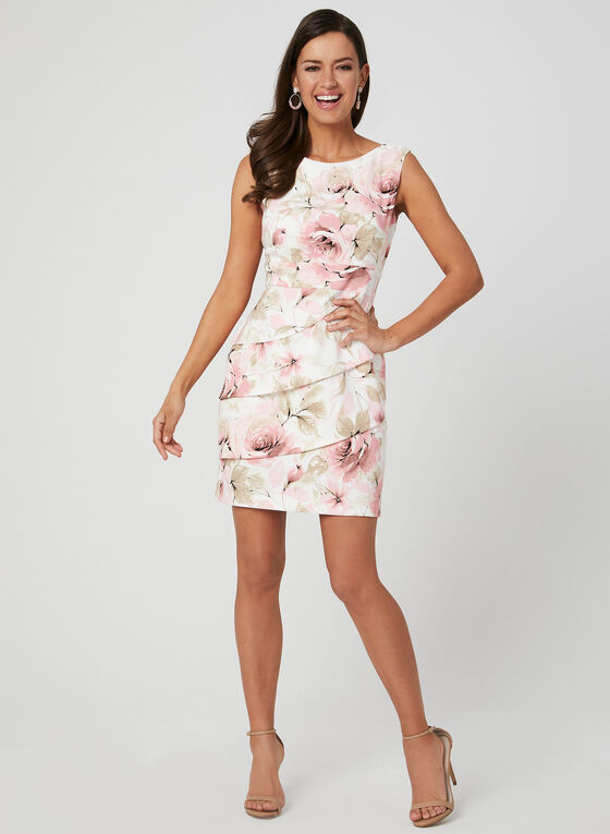 Floral Print Dress, Pink, hi-res
