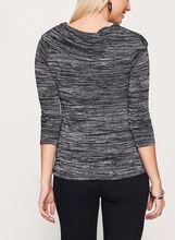 Marilyn Neck 3/4 Sleeve Sweater , Grey, hi-res