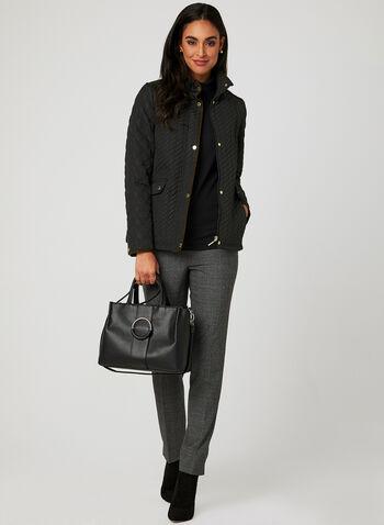 Weatherproof - Lightweight Quilted Coat, Black, hi-res