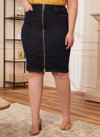 Joseph Ribkoff - Jupe droite en denim, Bleu,  jupe, droite, denim, jeans, courte, genoux, poches, fermeture glissière, Ribkoff, Lyman, printemps été 2021