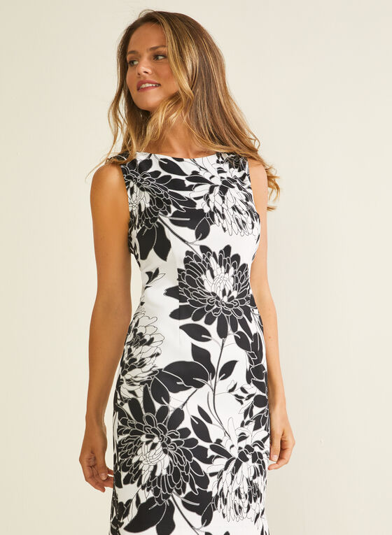 Floral Print Sheath Dress, Black