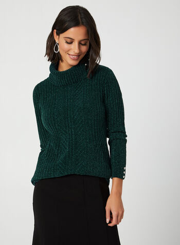 Split Collar Chenille Sweater, Green,  sweater, knit, split neck, chenille, long sleeves, fall 2019, winter 2019