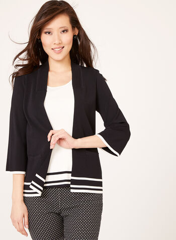 Ribbed Collar Stripe Knit Cardigan , Black, hi-res
