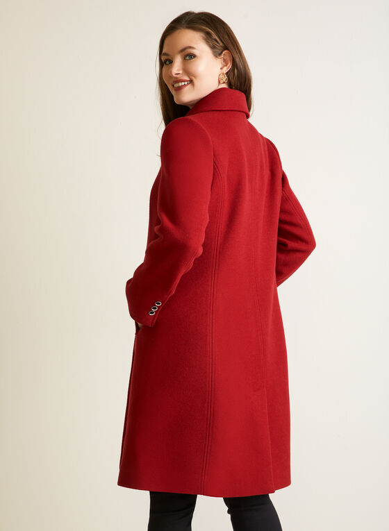 Stretch Faux Wool Structured Coat, Red