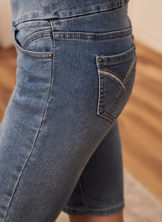 Pull-On Demin Shorts, Blue
