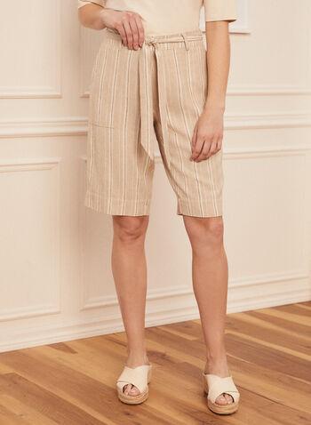 Linen Capri Shorts, Off White,  spring summer 2021, capris, shorts, striped, pull on, sash,