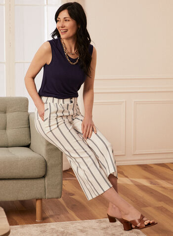 Striped Gaucho Pants, White,  spring summer 2021, pants, wide leg, gaucho, faux pockets, vertical pockets
