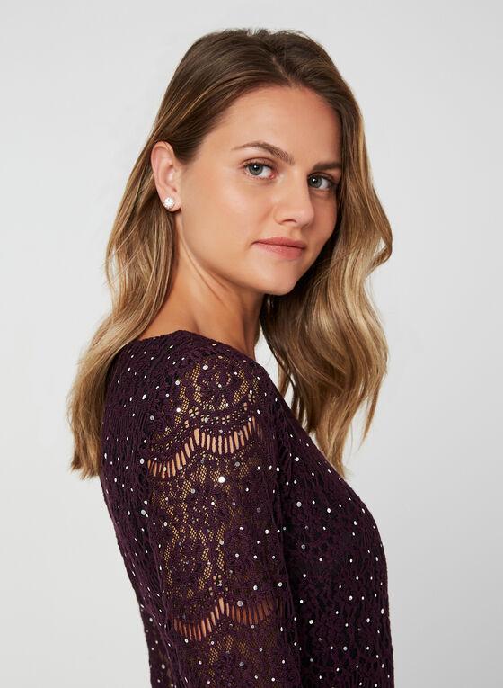 Lace Shift Dress, Purple, hi-res