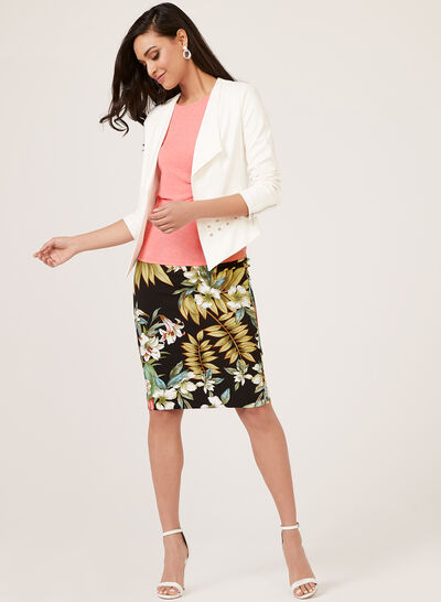 Floral Print Scuba Skirt