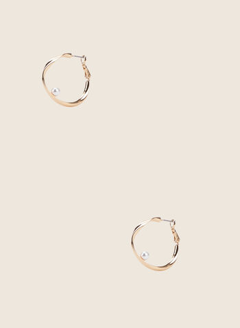 Twisted Metallic Hoop Earrings, Off White,  earrings, metallic earrings, pearl earrings, pearls, spring 2020, summer 2020