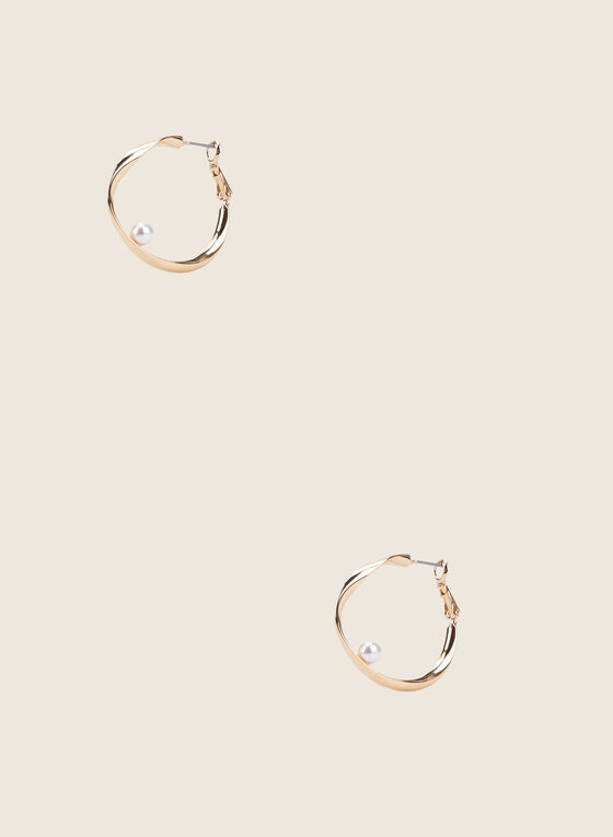 Twisted Metallic Hoop Earrings, Off White