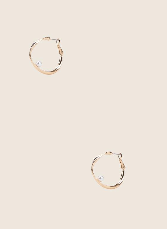 Créoles torsadées à détail perle, Blanc cassé
