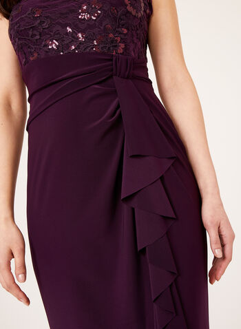 Marina – Cascading Empire Lace Sequin Dress, Purple, hi-res