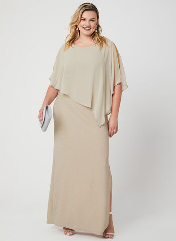 Frank Lyman - Chiffon Poncho Dress, Brown,  Sleeveless, spring 2019