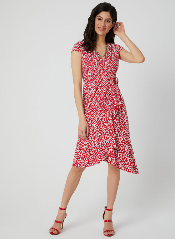 Robe fleurie style enveloppe, Rouge, hi-res