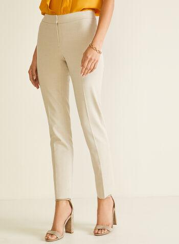 Pantalon coupe cité à jambe droite, Blanc cassé,  pantalon, cité, jambe droite, pinces, fente, printemps été 2020