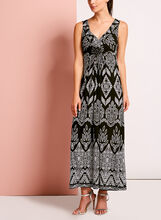 Sleeveless Medallion Trim Maxi Dress, , hi-res