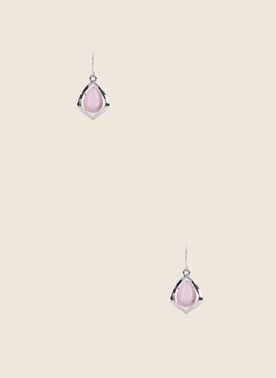 Teardrop Pendant Earrings, Pink