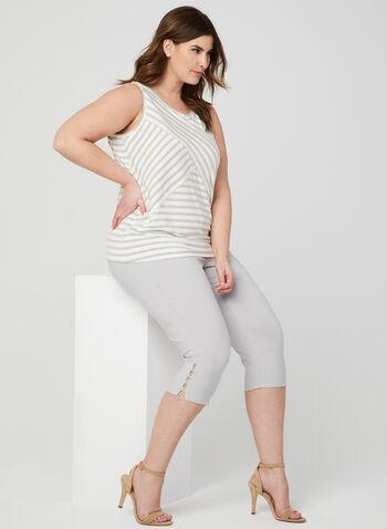 Stripe Print Sleeveless Top, White, hi-res,