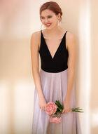 V-Neck Jersey & Glitter Dress, Pink