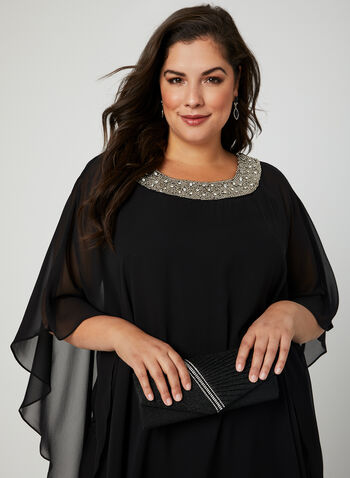 Chiffon Poncho Dress, Black, hi-res