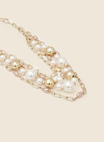 Collier multi-rangs à billes et perles, Or,  automne hiver 2020, collier, bijou, accessoire, chaîne, doré, billes, perles