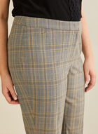 Modern Fit Plaid Print Pants, Black