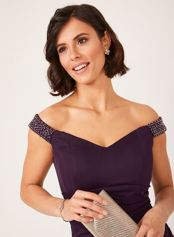 Off The Shoulder Cascading Dress, Purple, hi-res