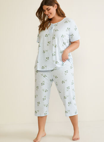 Floral Print Pleated Front Pyjama Set, Blue,  fall winter 2020, pyjama set, pleated