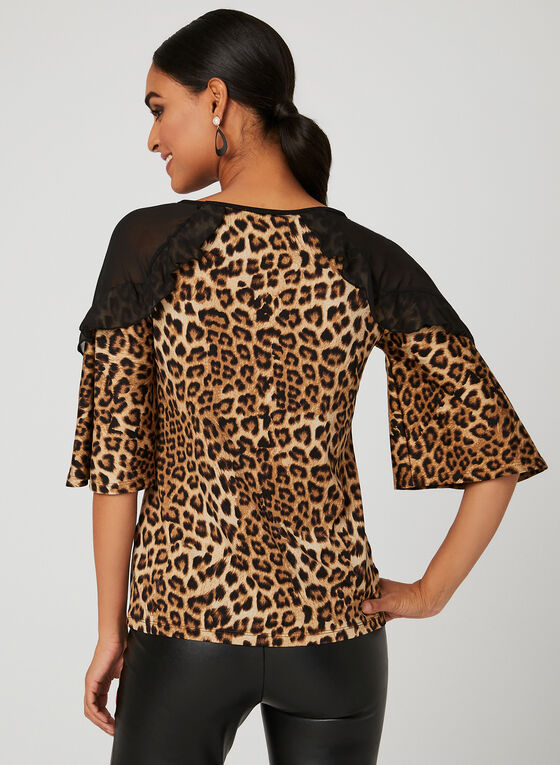 Animal Print Jersey Top , Black, hi-res