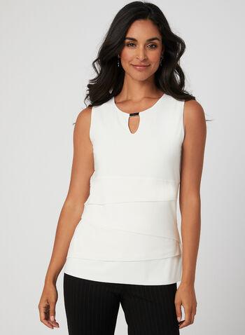 Sleeveless Layered Top, Off White, hi-res,  jersey, sleeveless, metallic, layered, fall 2019, winter 2019