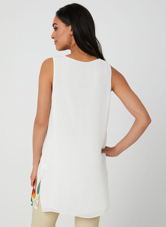 Tunique fleurie sans manches, Blanc, hi-res