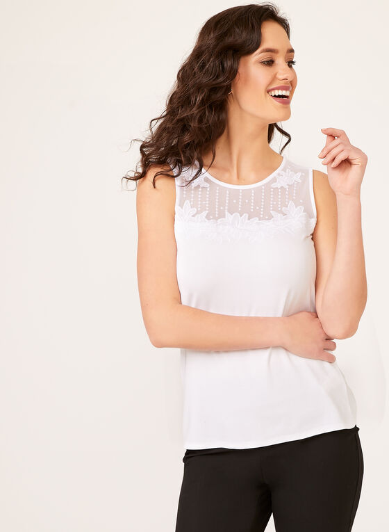 Lace Yoke Neck Camisole, White, hi-res