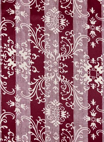 Foulard satiné à motif tapisserie et rayures, Violet, hi-res