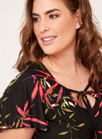 Bellina - Leaf Print Pajama Set , Black, hi-res