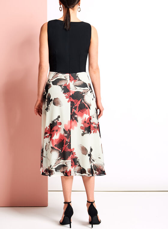 Floral Print Fit & Flare Midi Dress, Black, hi-res